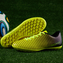 Men Soccer Shoes Breathable Turf Football Trainers Yellow Red Kids Rubber Bottom Indoor
