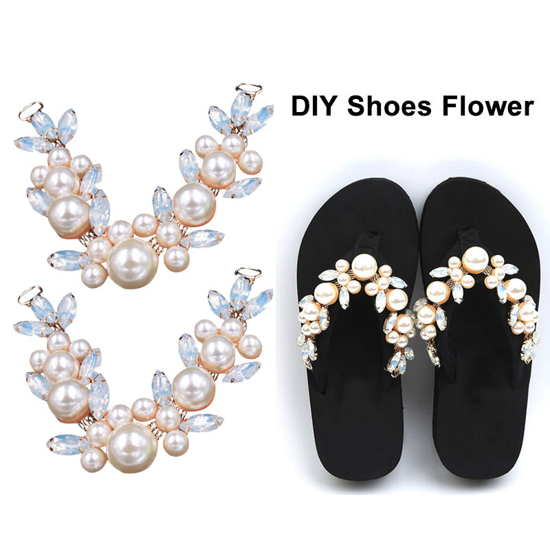 2019New 10Pcs Rhinestone And Pearl Shoes Connectors /Buckle For DIY Flip-flops Shoes Or Hair Embellishment Accessoriess LP209