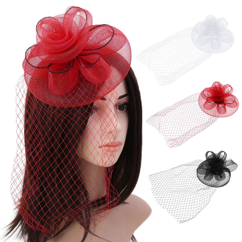 2018 Hot New Lady Kentucky Derby Women Fascinator Hats Girls Female Fashion Big Flower Solid Cocktail Party Hair Clip 3 Colors