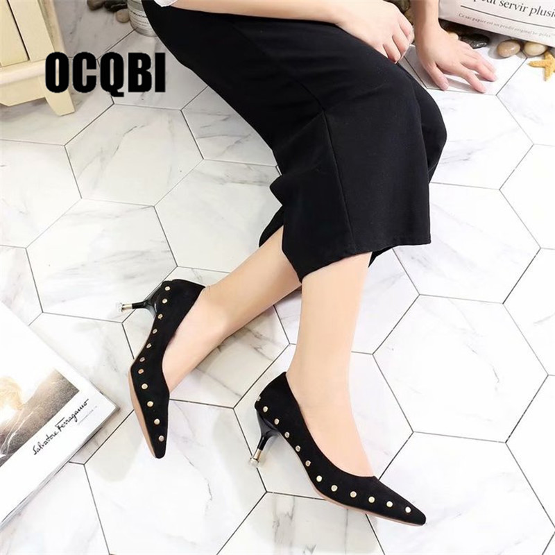 High-heeled Women 2018 Autumn New Stiletto Heels Black Wild Pointed Rivets Shallow Mouth Fashion Wedding Shoes Mujer Zapatos