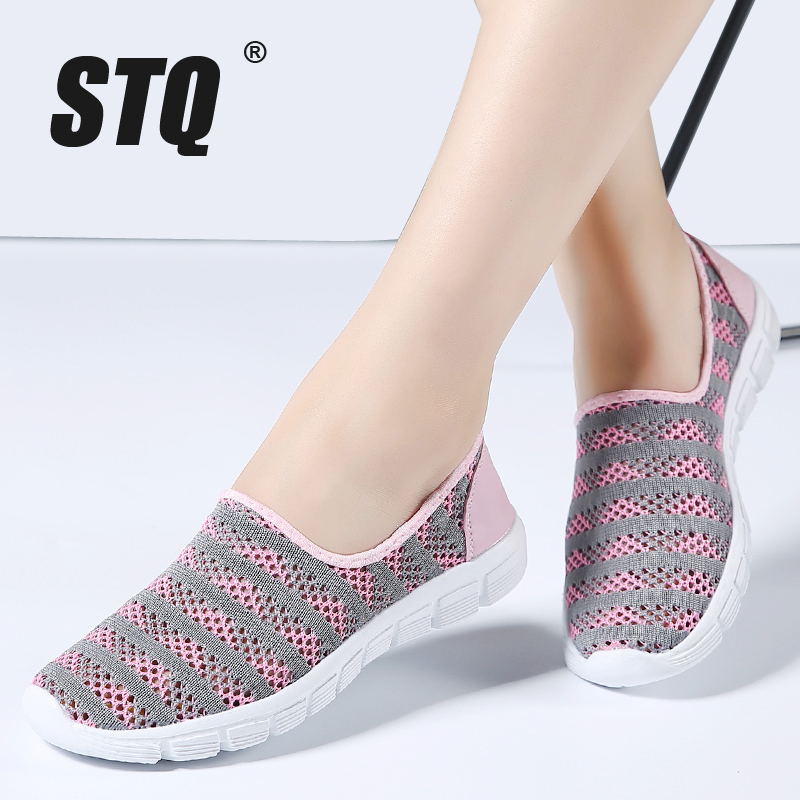 STQ 2020 Summer Women Shoes Women Breathable Mesh Sneakers Shoes Ballet Flats Ladies Slip On Flats Loafers Shoes Plus Size E39