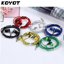 KOYOT Universal In-Ear Braided Cords Earplugs Stereo Subwoofer Music Earphone with Mic for Smartphone MP3/MP4