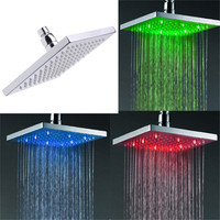 8 Inch 200mm Brass Retail LED Color Changing Rainfall Shower Head Rectangular Waterfall Shower Head