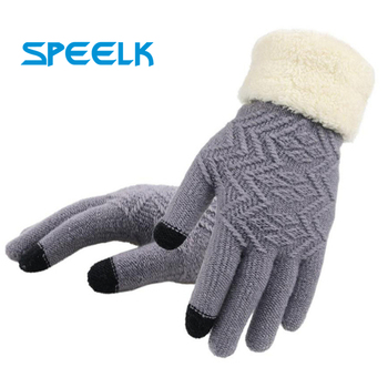 New Winter Touch Screen Knitted Gloves Women Fashion  Knit Mittens Female thick Plush Wrist Driving Glove Wholesale - discount item  42% OFF Gloves & Mittens