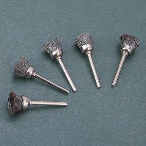Image 3 - 10 adet paslanmaz çelik tel tekerlek fırça seti seti Dremel aksesuarları Mini matkap döner araçları parlatma dremel fırça