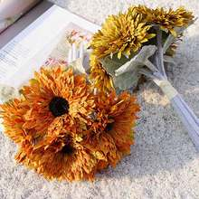 New 6 Heads Artificial Sunflowers Bouquet Leaves Party Holding Flower Home Decoration for indoor and outdoor(China)