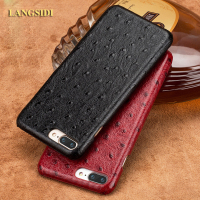 LANGSIDI Brand Phone Case Ostrich Grain Half Wrapped Phone Case For IPhone 7 Plus Phone Case