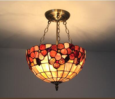 Tiffany Mediterranean art pendant lamps colorful warm creative entrance Flowers balcony garden aisle Pendant Lights tiffany restaurant in front of the hotel cafe bar small aisle entrance hall creative pendant light mediterranean df66