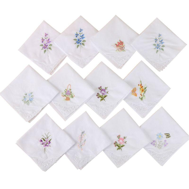 3Pcs/Set Women Basic White Square Handkerchief Floral Embroidered Pocket Hanky Lace Cotton Baby Bibs Portable Towel Napkin