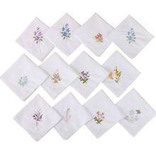 3Pcs/Set Women Basic White Square Handkerchief Floral Embroidered Pocket Hanky Lace Cotton Baby Bibs Portable Towel Napkin