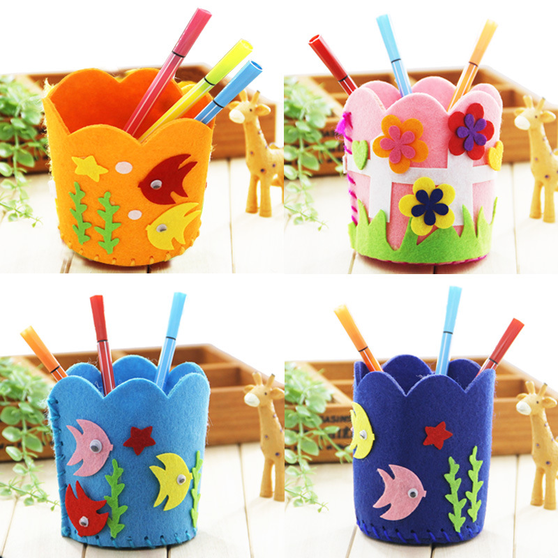 DIY Nonwoven Pen Holder Children's Hand-made Toys Kindergarten Educational Toys Creative Paste Production Sticker Gift 1PCS
