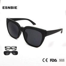 ESNBIE Designer Polarized TR90 Clip On Sunglasses Men Oversized Optical Glasses Frame Women Magnetic Eyewear
