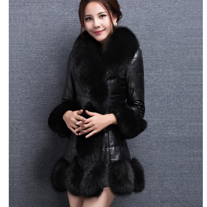 0ebba8df36671 LZJ Factory Outlet Supplier Collar Fox Artificial Fur Coat Ladies Winter  Fashion Plush Slim Fox Fur Jacket 2017 New size 4XL -in Faux Fur from  Women s ...