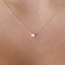 QCOOLJLY Simple Dazzling Zircon Necklace Silver Gold Color Pendant Necklaces For