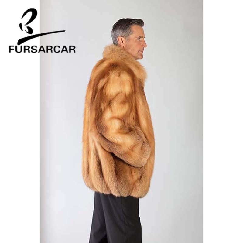 Épais Nouveau Fourrure Hommes Style Cm Renard D'hiver Naturel Long Réel Or Manteau Luxe Veste Fursarcar Chaud 75 De uwOkTXPZi