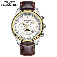Relogio Masculino Известный Бренд GUANQIN Часы Мужчины Спорт 24 Час Дата Часы Мужские Подарки Натуральная Кожа Кварцевые Часы Reloj Hombre