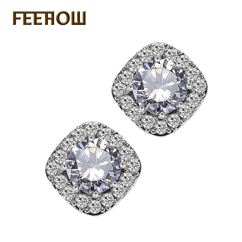FEEHOW 5 Color Fashion Women Small Earrings Micro Inlay Zircon Around Cut 6mm Round Shape Top Quality CZ Stud Earrings FWEP102