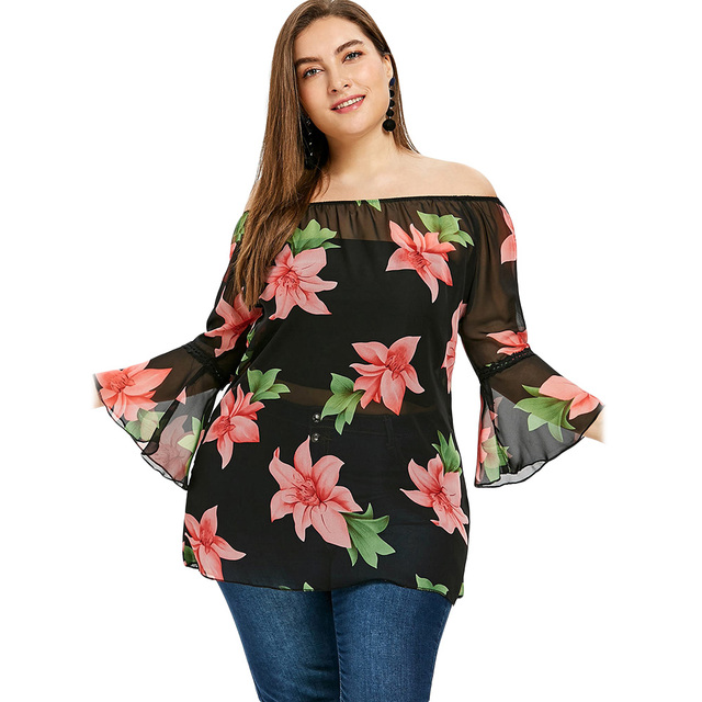 c11fe8b425d Wipalo Plus Size 5XL 4XL Summer 2018 Floral Flower Chiffon Off The Shoulder  Blouse Women Clothing Big Size Tropical Boho Tops
