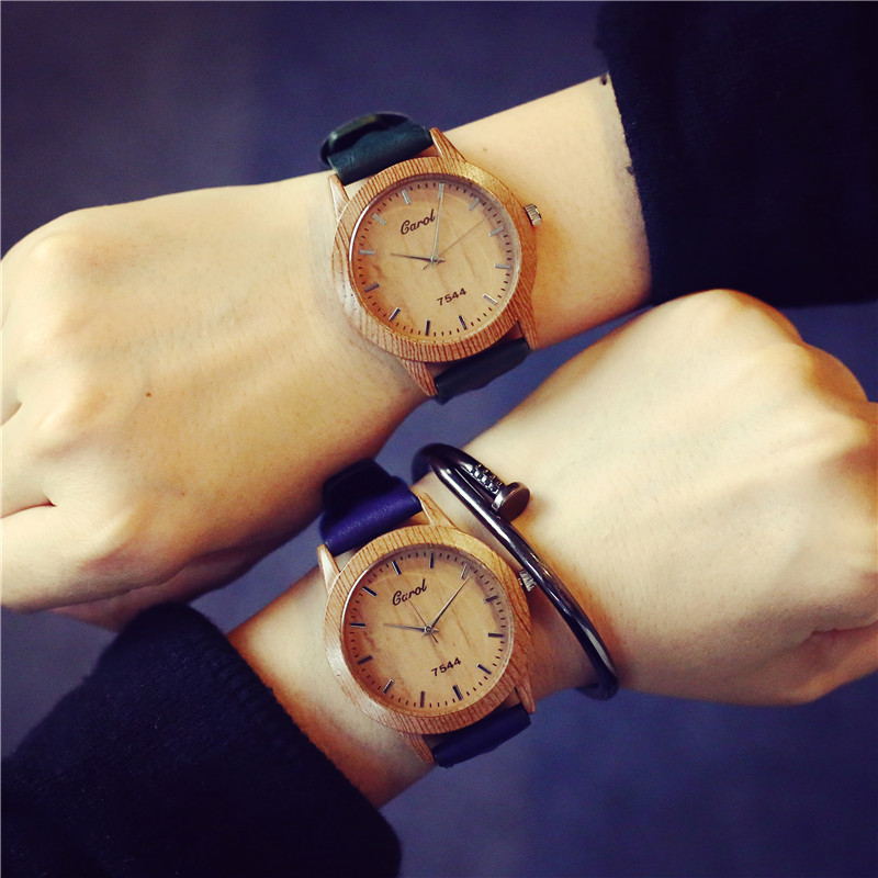 Fashion Casual Wood Print Shell Leather Analog Quartz Wristwatches Wrist Watch for Women Men Brown Blue