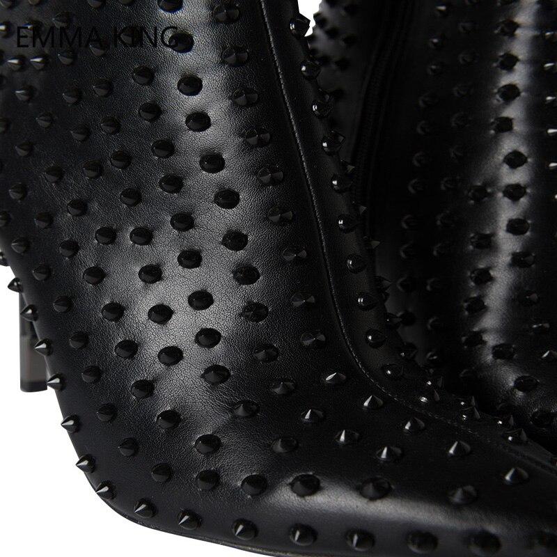 Schuhe Frauen Leder Schwarz Stiefel Zip Design Stiletto Ferse Cowboy Spitze Pull Nieten As Spikes Bootie Neue Tab Heels Zehen Western Picture High O6wwq57