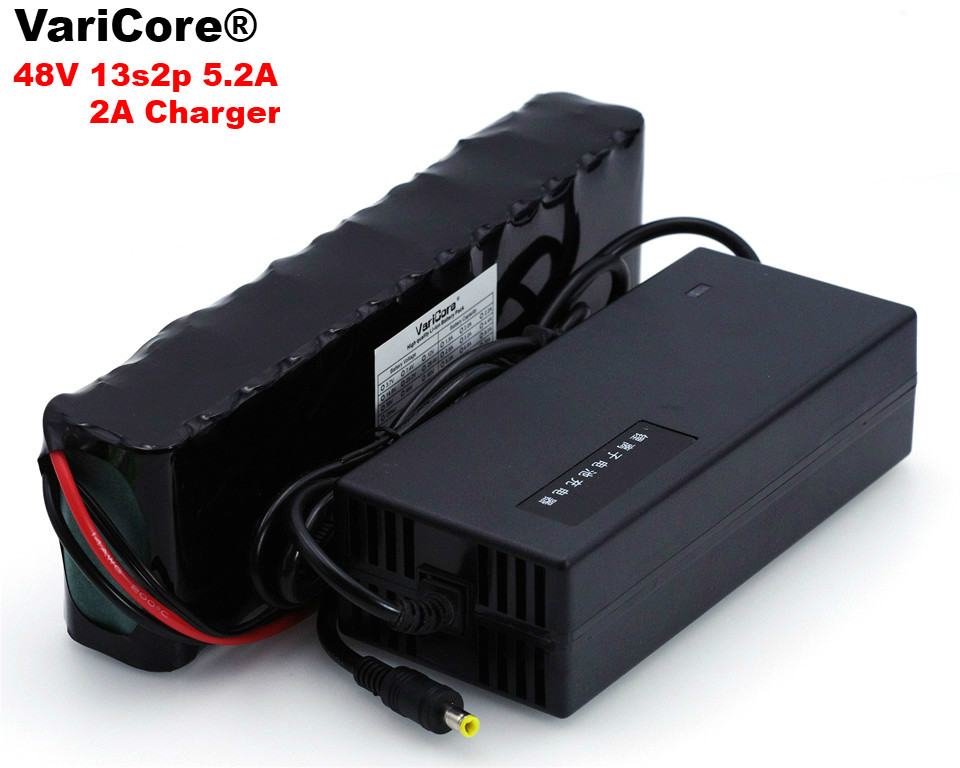 VariCore 48V 5.2ah 13s2p High Power 18650 Battery Electric Vehicle Electric Motorcycle DIY Battery 48v BMS Protection+2A Charger 13s 48v electric vehicle power lithium battery protection plate bms belt equalization charging and discharging current 18a
