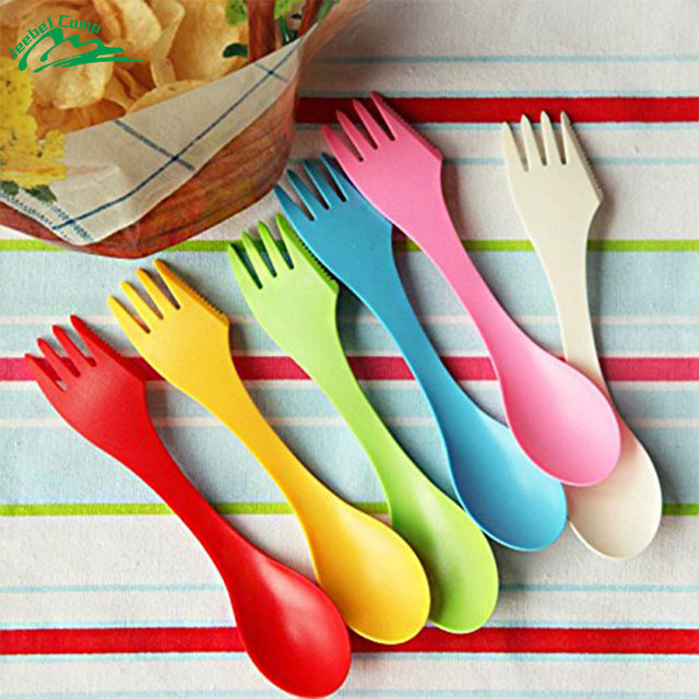 Jeebel 3 in 1 Spoon Fork Knife Cutlery Camping Hiking Utensils Spork Tableware Picnic BBQ Outdoor Cutlery Kitchen Dishes