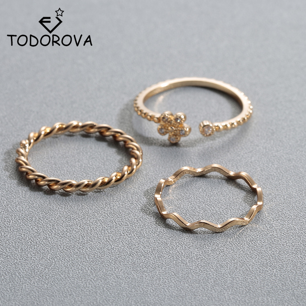Todorova Hot Crystal Twist Wave Flower Wedding Ring Set Midi Knuckle Rings for Fingers Toes Women Men Jewelry Gifts for Girls