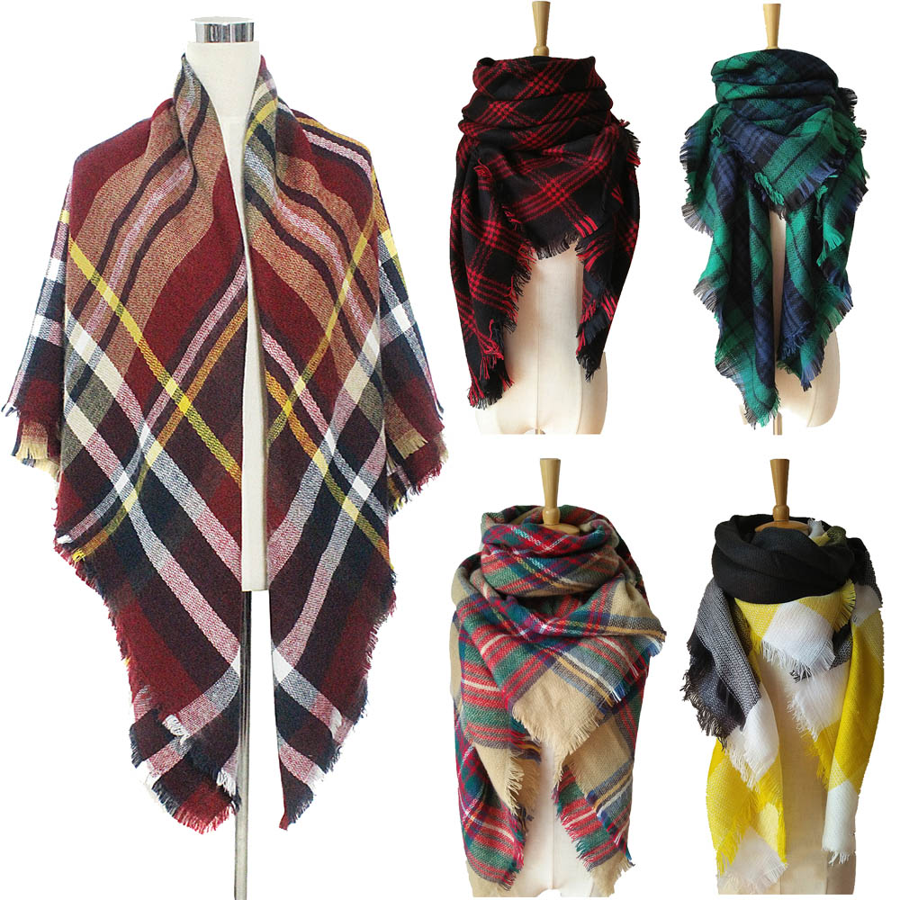 Fashion Women Oversized font b Tartan b font Checked Plaid Blanket Square Scarf Wrap Shawl New