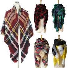 Fashion Women Oversized font b Tartan b font Checked Plaid Blanket Square Scarf Wrap Shawl New