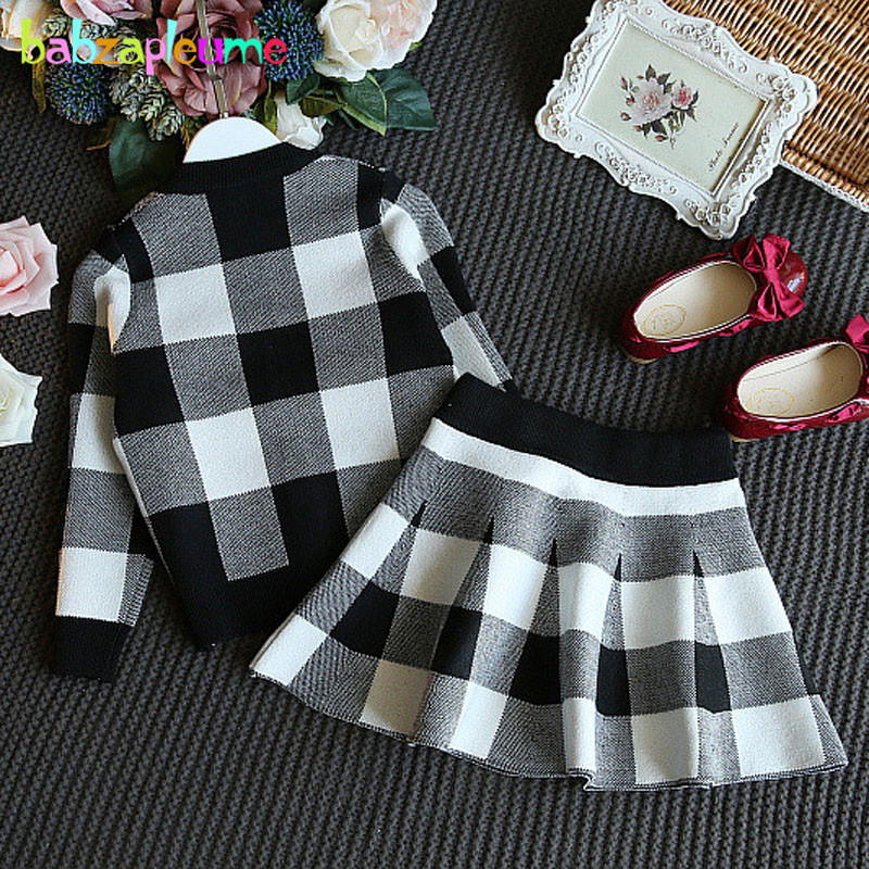 spring autumn children suit boutique kids fashion clothes plaid Knit cardigan coat skirt baby outfits girls clothing sets BC1029 in Clothing Sets from Mother Kids