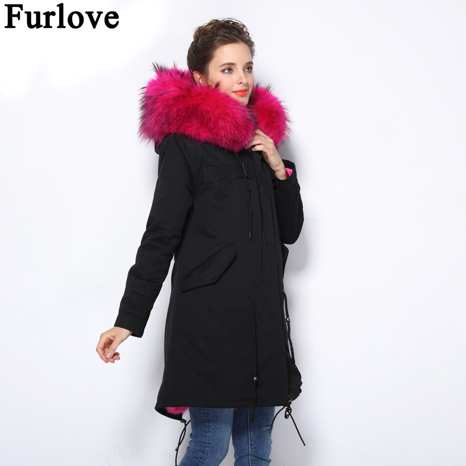 Furlove 2016 Winter Parka Women Coat Warm Detachable Lining Big Raccoon Fur Collar Hooded Army Green Brand Design Parka Outwear kohuijoos 3xl winter women army green large raccoon fur collar hooded coat warm detachable natural fox fur lining parka coats