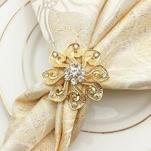 6PCS high-grade gold-encrusted sunflower flower napkin buckle Western restaurant rhinestone alloy napkin ring rhinestone flower layered ring
