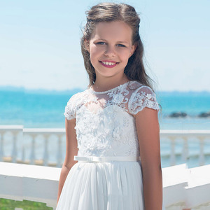 Image 3 - Flower Girl Dresses With Bow Beaded Crystal Lace Up Applique Ball Gown First Communion Dress for Girls Customized Vestidos Longo