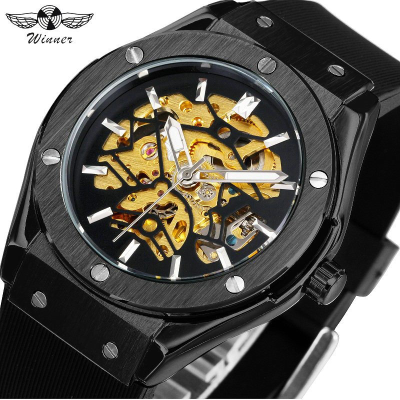 WINNER Men Fashion Cool Black Automatic Mechanical Watch Rubber Strap Skeleton Dial Automatic Dial Design Sport Style Wristwatch automatic spanish snacks automatic latin fruit machines