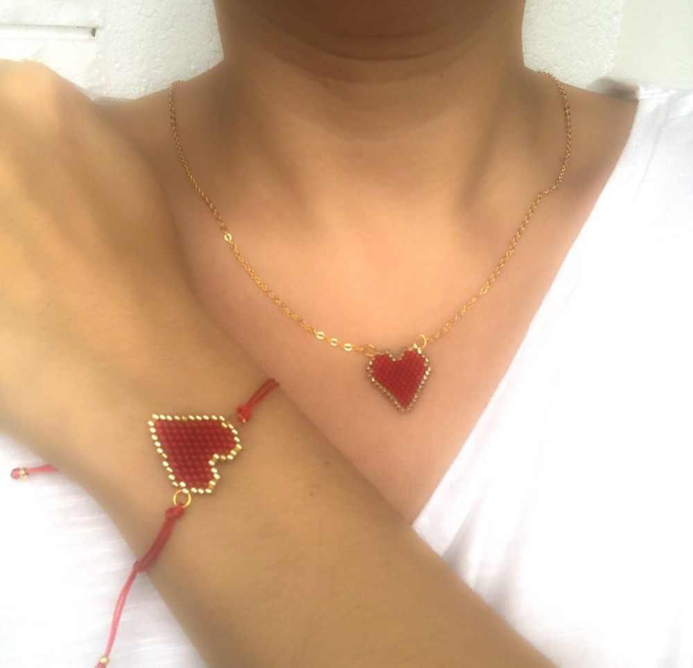 Go2boho MIYUKI Heart Necklace Women Gold Chain Necklaces Love Bijoux Femme Red Delica Bead Collier Women's Jewelry Handmade Gift