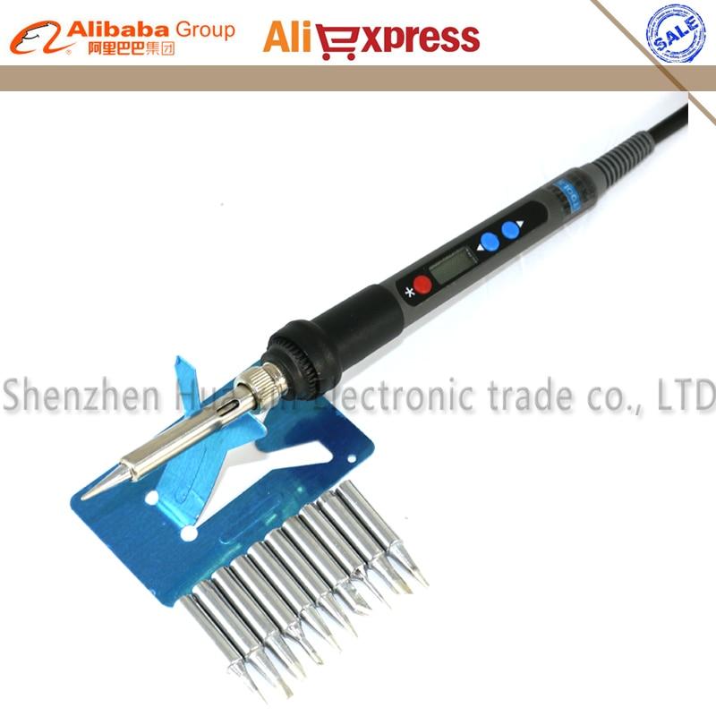 Backlight LCD Digital Adjustable Electric soldering iron ESD Mini Soldering station 220V 90W EU Plug+10/pcs 900M solder tip