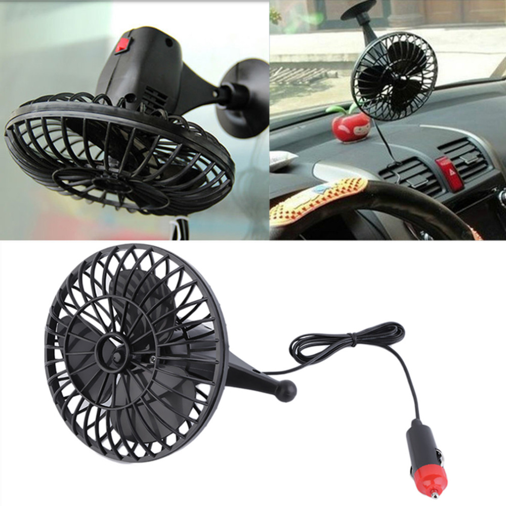 BAC0 12V Fan Cooling Air Fan Suction Cup Mini Car Truck Vehicle Adjustable Black