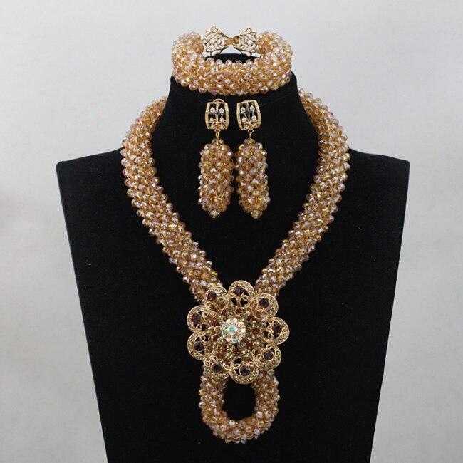 Fabuleux bijoux en or Dubai mariage perles africaines collier ensemble Champagne cristal bijoux de fiançailles livraison gratuite WD709