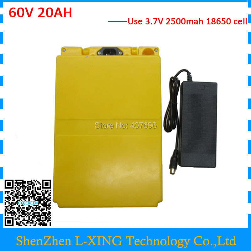 EU US no tax Lithium battery pack 60V 20AH with plastic case Electric bike battery 60V20AH use 3.7V 2500mah Cell 2A Charger
