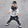 Hot! Spring Autumn Children Clothing Set 2pcs Long Sleeve Cotton Letter Printed T-Shirt + Long Haren Pants New Sale