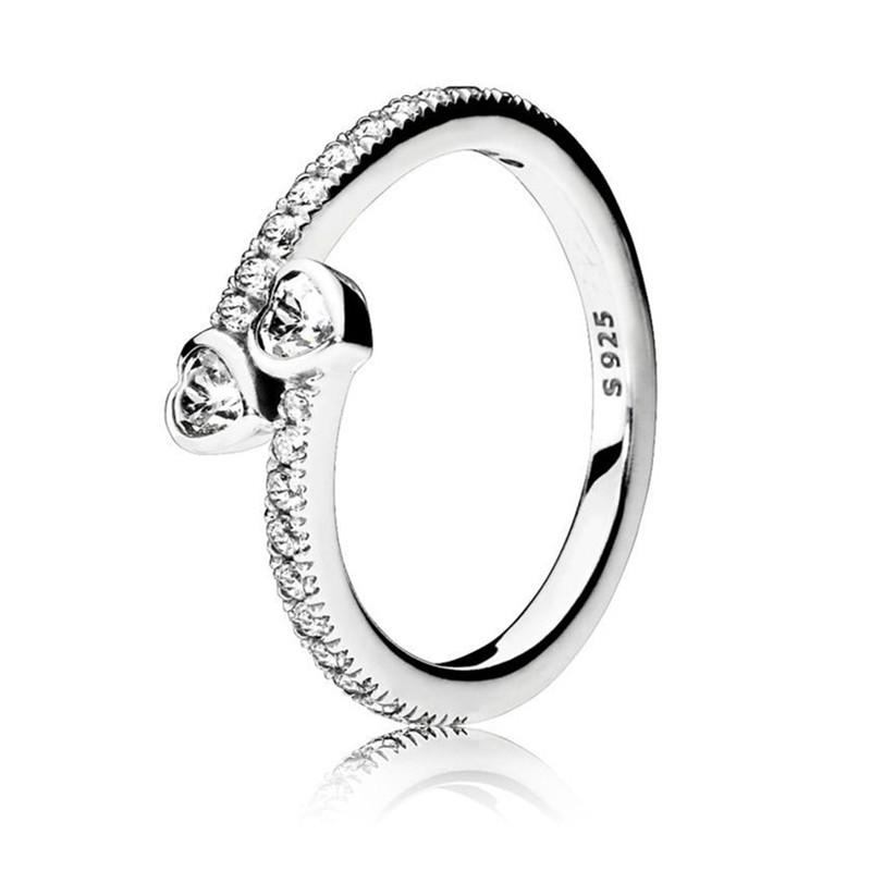 Trendy Original 100% Authentic 925 Sterling Silver Forever Hearts Ring For Women Wedding Engagement Gift Fine Pandora Jewelry
