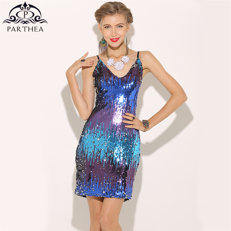 ab70236b396 Parthea Sexy Color Change Sequin Dress Sexy Plunge Women Party Dress Girls  Feminine Club Metallic Dresses Mini Vestidos 2018 New