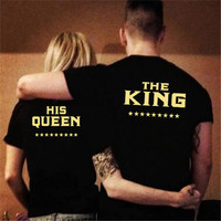 1 Piece Women Or Men Couples T Shirt King Queen Funny Letter Printed Matching Couples Gold