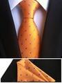 2017  NEW Designer's Tie Set 8cm Formal Necktie Orange with Purple Dots Gravata with Woven Handmade Pocket Square