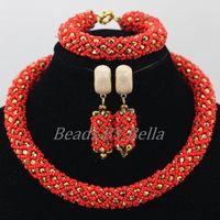 Hurtownie Kobiety Christmas Gift Afryki Nigerii Ślubne Koraliki Biżuteria Ustaw Czerwony ABF885 Braid Kryształ Naszyjnik Ustawia Bezpłatną Wysyłkę
