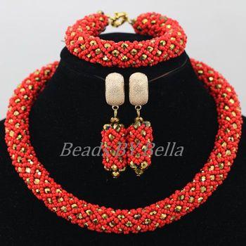 6b14c93e3777 Las mujeres al por mayor regalo de Navidad Africana perlas joyería conjunto  rojo boda de Nigeria