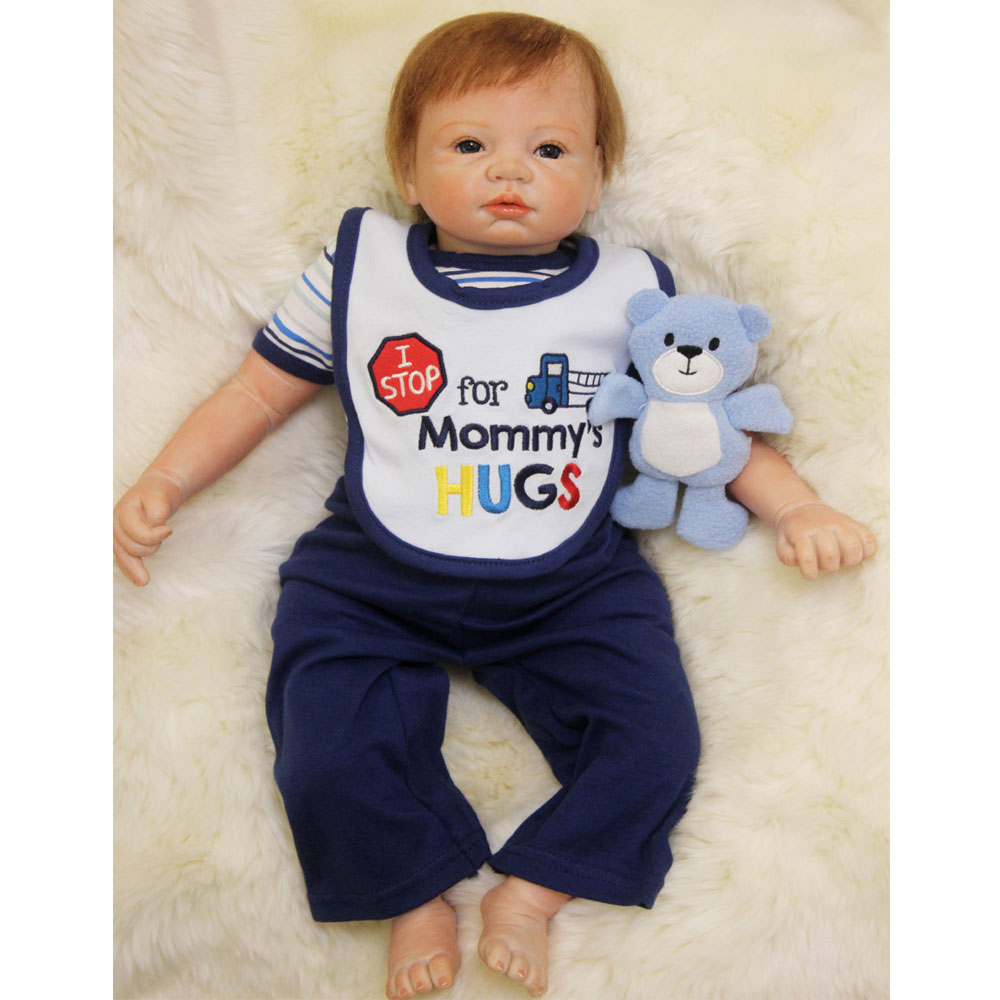 50-55CM New Hot Silicone Doll Reborn Baby boy realistic Handmade Cloth Body Reborn Babies Toys Baby Growth Partners kids Gift partners lp cd