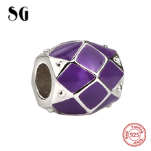 SG new arrival Silver 925 Original diy beads purple enamel charms fit authentic pandora bracelet jewelry making for women gifts 2018 new 925 sterling silver red enamel bikini charms beads fit authentic pandora bracelet charms beads jewelry for women gifts