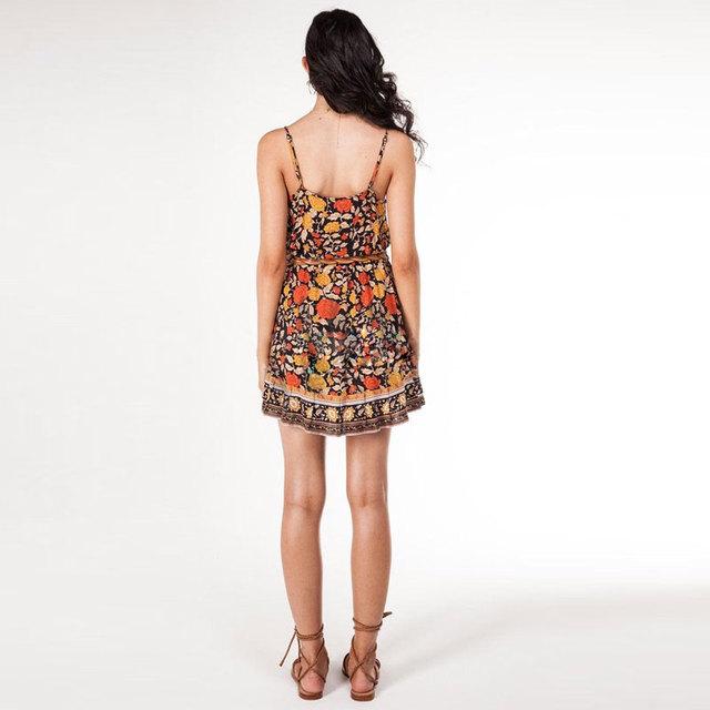 Spaghetti Strap V Neck Gypsy Style Sleeveless Dress