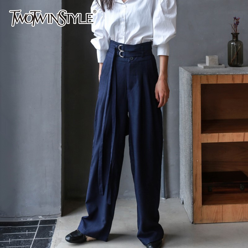 TWOTWINSTYLE Trousers For Women   Wide     Leg     Pants   Button Loose Big Size High Waist Full   Pant   Female 2018 Autumn Fashion Clothing